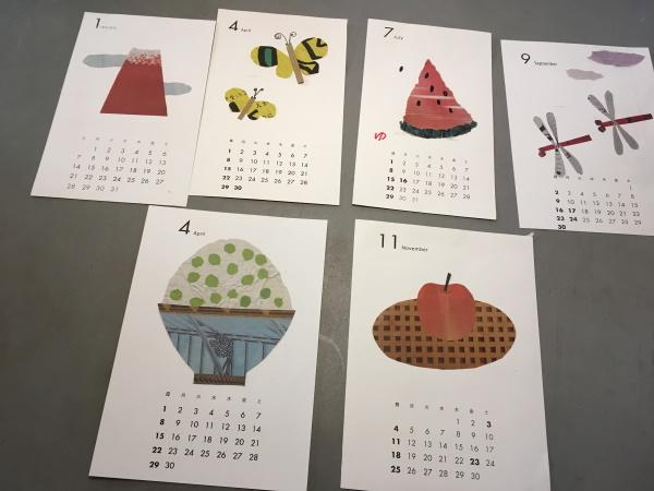 切り紙によるカレンダー